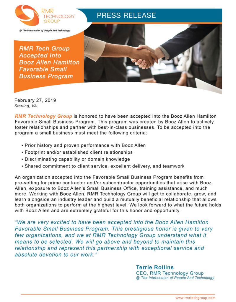 RMR Tech Group Accepted Into Booz Allen Hamilton